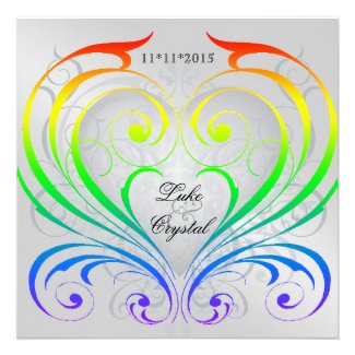 Jubilee Rainbow Heart Wedding Invitation