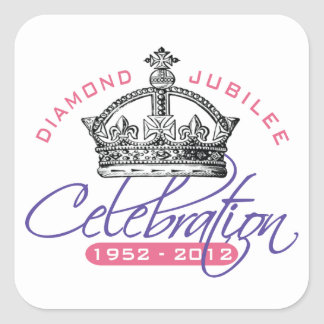 Jubileo de diamante británico - recuerdo real pegatina cuadrada