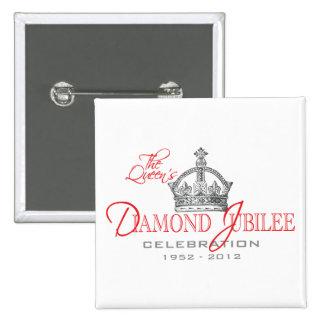 Jubileo de diamante británico - recuerdo real pin cuadrada 5 cm