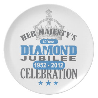 Jubileo de diamante británico - recuerdo real plato para fiesta