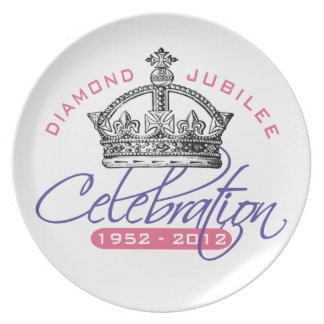 Jubileo de diamante británico - recuerdo real platos para fiestas