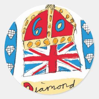 jubileo de diamante de la reina Elizabeth 2012 Pegatina Redonda