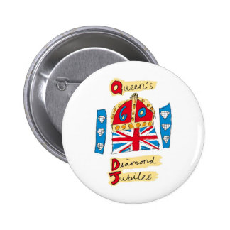 jubileo de diamante de la reina Elizabeth 2012 Pin Redondo De 2 Pulgadas