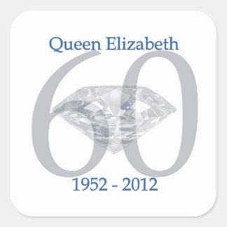 Jubileo de diamante de la reina Elizabeth Pegatina Cuadrada