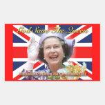 Jubileo de diamante del HM reina Elizabeth II Rectangular Pegatinas