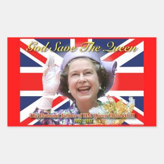 Jubileo de diamante del HM reina Elizabeth II Rectangular Pegatina