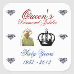 Jubileo de diamante del Queens 1952-2012 60 años Pegatina Cuadrada