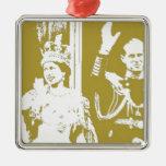 Jubileo de oro de la reina Elizabeth retro Adorno De Navidad