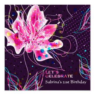 Jubileo floral - invitación de la fiesta de invitación 13,3 cm x 13,3cm