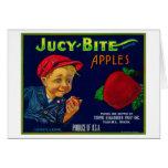 Jucy Bite Apple Crate LabelYakima, WA Greeting Card