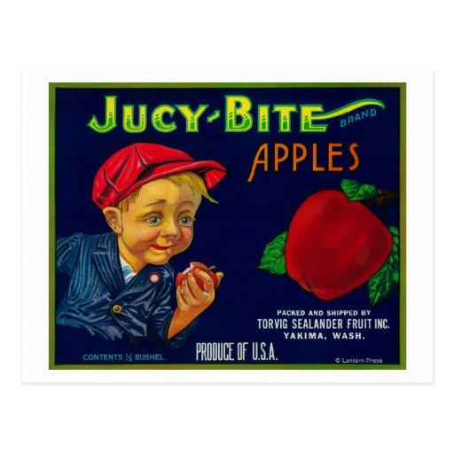 Jucy Bite Apple Crate LabelYakima, WA Postcard