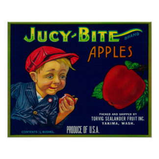 Jucy Bite Apple Crate LabelYakima, WA Poster
