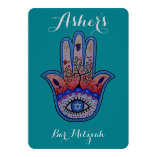 JUDAIC HAMSA BAT BAR MITZVAH INVITATION RSVP
