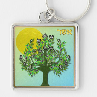 Judaica 12 Tribes Israel Asher Silver-Colored Square Keychain