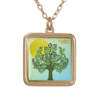Judaica 12 Tribes Israel Asher Square Pendant Necklace