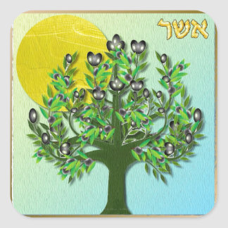 Judaica 12 Tribes Israel Asher Square Sticker