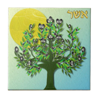 Judaica 12 Tribes Israel Asher Tile