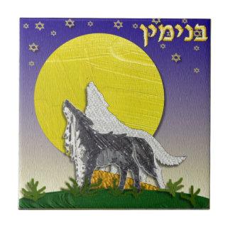 Judaica 12 Tribes Israel Benjamin Small Square Tile