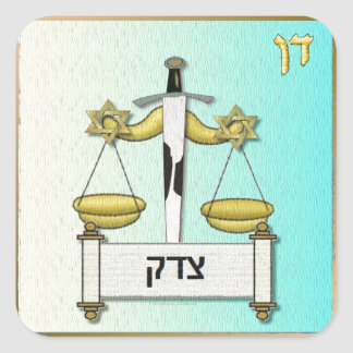 Judaica 12 Tribes Israel Dan Square Sticker