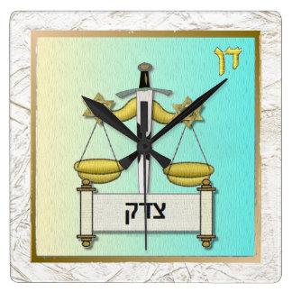 Judaica 12 Tribes Israel Dan Square Wall Clock