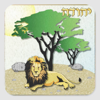 Judaica 12 Tribes Israel Judah Square Sticker