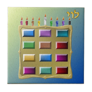 Judaica 12 Tribes Israel Levi Small Square Tile