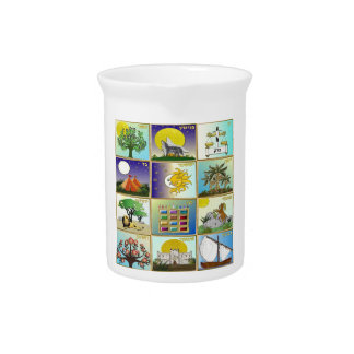 Judaica 12 Tribes of Israel Art Drink Pitcher