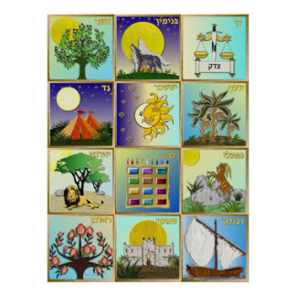 Judaica 12 Tribes of Israel Art Poster