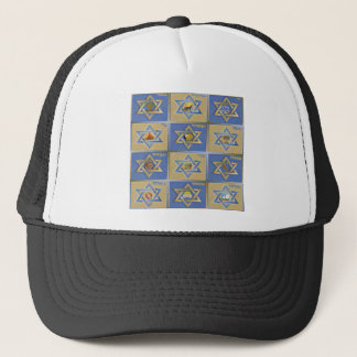 Judaica 12 Tribes of Israel Blue Gold Trucker Hat