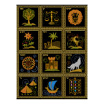 Judaica 12 tribus de poster del arte de Israel