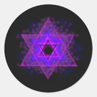 Judaica,… brillando intensamente en oscuridad pegatina redonda