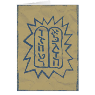 Judaica: Distressed Tem Commandments in Blue Greeting Cards