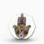 """Judaica Hamsa Hearts Flowers Opal Art Print Acrylic Award<br><div class=""""desc"""">You are viewing The Lee Hiller Designs Collection of Home and Office Decor,  Apparel,  Gifts and Collectibles. The Designs include Lee Hiller Photography and Mixed Media Digital Art Collection. You can view her Nature photography at http://HikeOurPlanet.com/ and follow her hiking blog within Hot Springs National Park.</div>"""