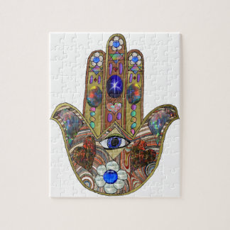 Judaica Hamsa Hearts Flowers Opal Art Print Jigsaw Puzzle
