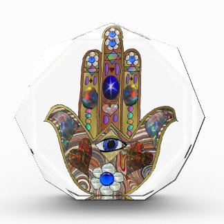 Judaica Hamsa Hearts Flowers Opal Print Acrylic Award