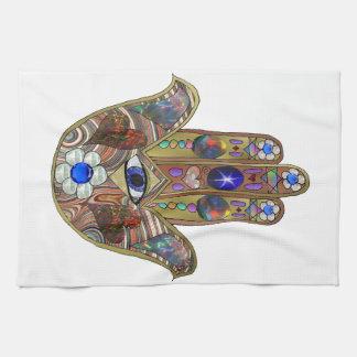Judaica Hamsa Hearts Flowers Opal Print Hand Towel
