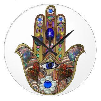 Judaica Hamsa Hearts Flowers Opal Print Large Clock