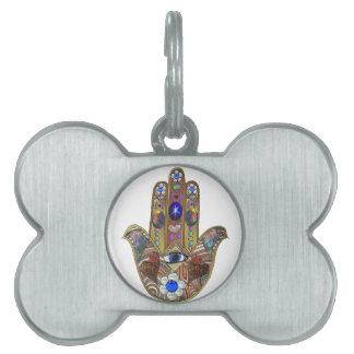 Judaica Hamsa Hearts Flowers Opal Print Pet ID Tag