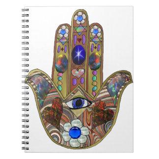 Judaica Hamsa Hearts Flowers Opal Print Spiral Notebook