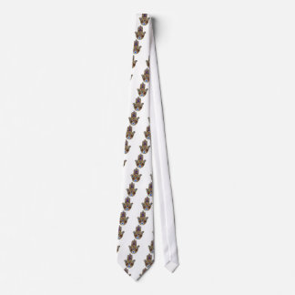Judaica Hamsa Hearts Flowers Opal Print Tie