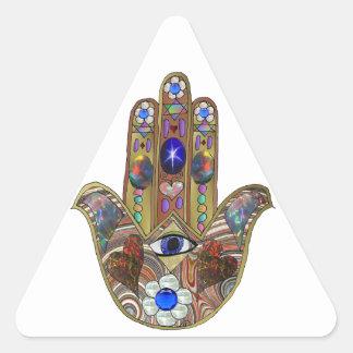 Judaica Hamsa Hearts Flowers Opal Print Triangle Sticker