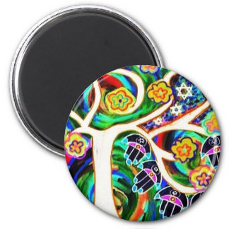 Judaica Hamsa Ivory Tree Of Life 2 Inch Round Magnet