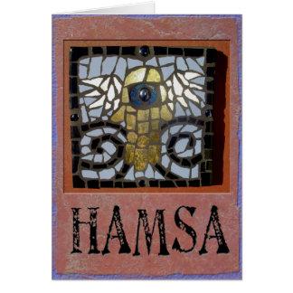 Judaica: Hamsa Mosaic w/Wings and Evil Eve Greeting Card
