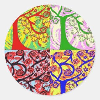 Judaica Hamsa Tree Of Life Sunrise Classic Round Sticker