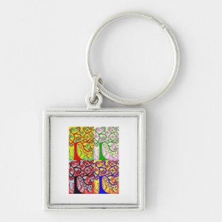 Judaica Hamsa Tree Of Life Sunrise Silver-Colored Square Keychain