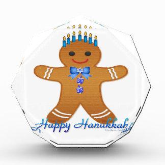 Judaica Hanukkah Gingerbread Man Menorah Acrylic Award