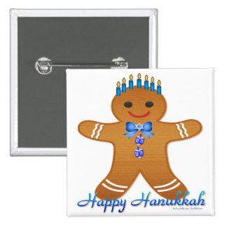 Judaica Hanukkah Gingerbread Man Menorah Button