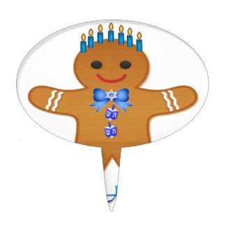 Judaica Hanukkah Gingerbread Man Menorah Cake Pick