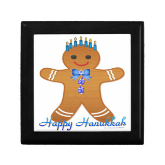 Judaica Hanukkah Gingerbread Man Menorah Trinket Box