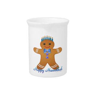Judaica Hanukkah Gingerbread Man Menorah Pitcher